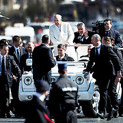 Pope Francis leads a special audience in St. Peter's Square at the Vatican to celebrate 69th Anniversary of Communion and Liberation Catholic Movement. Pope Francis received members of the Communion and Liberation movement – at least 80 thousand of them, from nearly 50 nations, on Saturday to remember the group's founder, Msgr. Luigi Giussani, and to mark the 60th anniversary of the movement's founding.