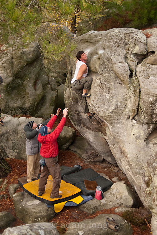 Jim Hilliard climbing Oasis, 7b+, Manoury, Fontainebleau