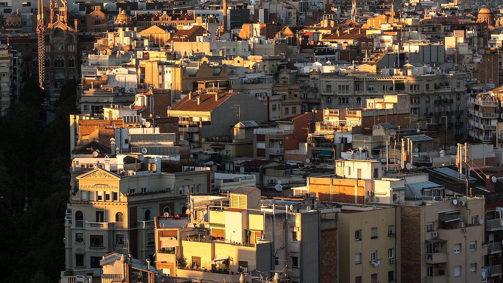 Barcelona at sunset.