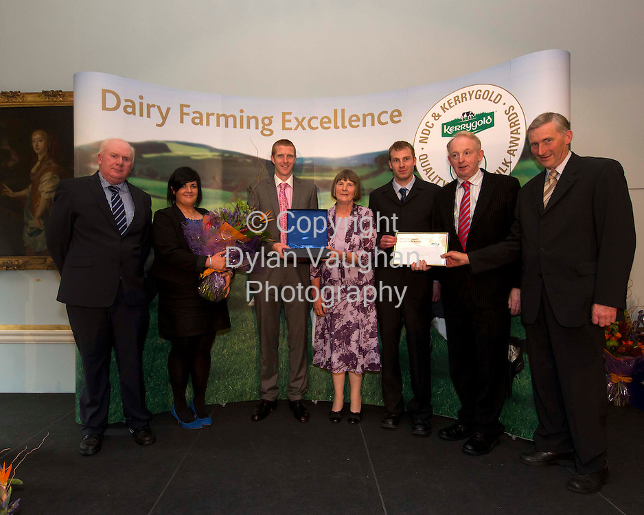Repro free..11/10/2012.Lady Farmer from Co. Cork Scoops Environmental Accolade at Quality Awards.9 Times All-Ireland Winner Presents to 9 National Dairy Finalists. .Merle Tanner, a lady farming at Aglish, Coachford, Co. Cork and supplying milk to Dairygold Co-op, was presented with a National Category Award for Care of the Environment & Diligence in the 2012 NDC & Kerrygold Quality Milk Awards.   The national awards programme, described as ?The Sam Maguire of Farming,? highlights and rewards dairy farming excellence. . .David & Kathleen Cassidy from Coppenagh, Lisnagar, Cootehill, Co. Cavan, suppliers of milk to Glanbia, are the overall winners of the 2012 NDC & Kerrygold Quality Milk Awards. . .Nine times All-Ireland champion and hurling All-Star Henry Shefflin presented the NDC & Kerrygold Quality Milk Awards to nine dairy farmers short-listed as national finalists, including Merle Tanner, in Dublin's RDS today (11th October 2012).   Details about the finalists are at www.qualitymilkawards.ie..Pictured at the NDC & Kerrygold Quality Milk Awards ceremony were (L-R): Jackie Cahill, Chairman, National Dairy Council, Maeve O'Connor Dairygold Co-op, Henry Shefflin, Mrs. Mearle Tanner, Shane Tanner, Vincent Buckley, Chairman, Irish Dairy Board and Tom Tanner....Picture Dylan Vaughan.