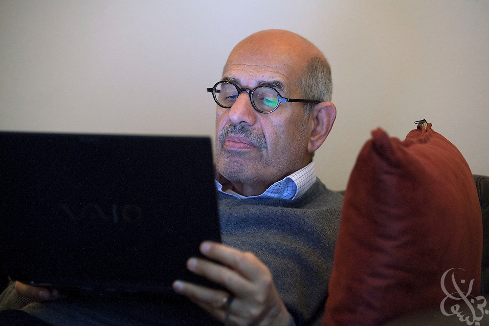 Mohammed ElBaradei, head of the Egyptian National Association for Change reads news accounts of the ongoing crisis in Egypt February 05, 2011 at his villa in Giza, Egypt. ElBaradei has been urging President Mubarak to listen to the protesters demands and step down.  . .Credit: Scott Nelson