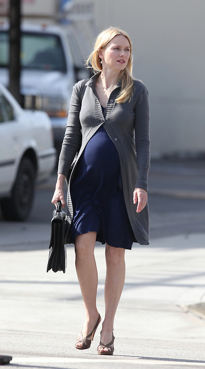 February 20th 2009  Studio City, CA. Non Exclusive. Naomi Watts films a scene for Mother And Child. In the scene Naomi is pregnant and is leaving a Law Office where she works. Photo by Ford/ Buchan  On Location News 818-613-3955 info@onlocationnews.com