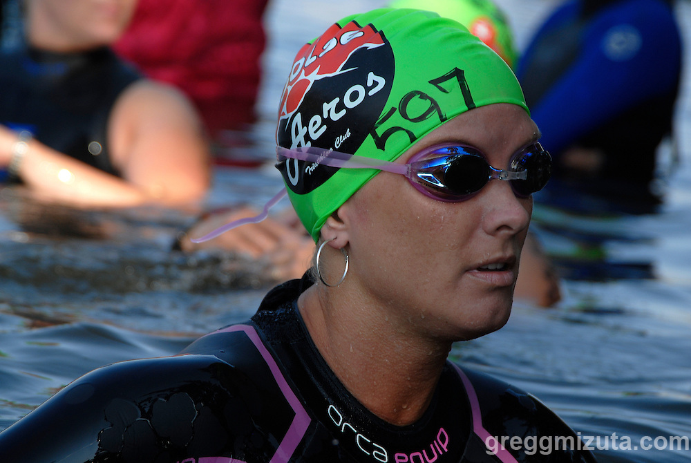 Desiree Lewis before the start of the sprint distance triathlon at Black Canyon Reservoir during Emmett's Most Excellent Triathlon on August 7, 2010.<br /> <br /> Lewis finished the sprint distance triathlon (500 meter swim, 20k bike and 5k run) in 1:26:33 to place fourth in the female 35-39 age group.