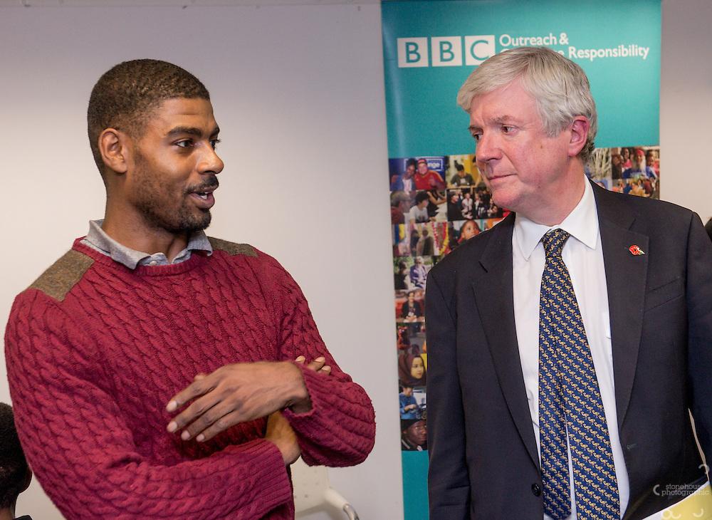 Director General of the BBC Tony Hall visits the BBC Birmingham.