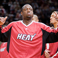 9 October 2008: Dwyane Wade of the Miami Heat is seen during the players introduction prior to the New Jersey Nets 100-98 overtime victory over the Miami Heat in an exhibition game at Bercy Arena, in Paris, France.