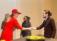 1-12-2016 DEN BOSCH - Queen Maxima opens Thursday, December 1st, the Hieronymus Academy of Data Science (JADS) in the former convent Marienburg in 's-Hertogenbosch. Queen Maxima first attends the opening program at the Mary Chapel and then given a tour of the building. There they talk to students and scientists on the activities of the academy. In conclusion it provides the opening of the academy. COPYRIGHT ROBIN UTRECHT <br /> <br /> 1-12-2016 DEN BOSCH - Koningin Maxima opent donderdag 1 december de Jheronimus Academy of Data Science (JADS) in het voormalig klooster Mari&euml;nburg in &rsquo;s-Hertogenbosch. Koningin Maxima woont eerst het openingsprogramma bij in de Mariakapel en krijgt aansluitend een rondleiding door het gebouw. Daar praat zij met studenten en wetenschappers over de activiteiten van de academie. Als afsluiting verricht zij de opening van de academie. COPYRIGHT ROBIN UTRECHT