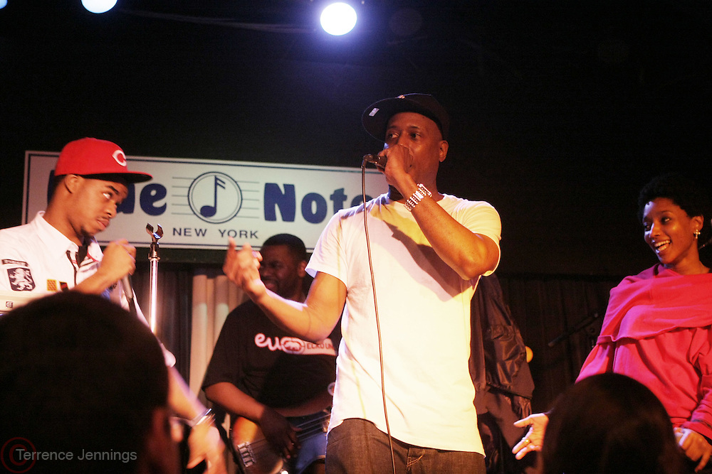 l to r: Hi-Tek, Talib Kwel and Res at Talib Kweli & Hi-Tek: Reflection Eternal produced by Jill Newman Productions held at The Blue Note on March 10, 2009 in New York City