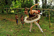 Ballerinas dressed up in an Embera Indigenous Community at the Chagres River.MR. Model relased photo.