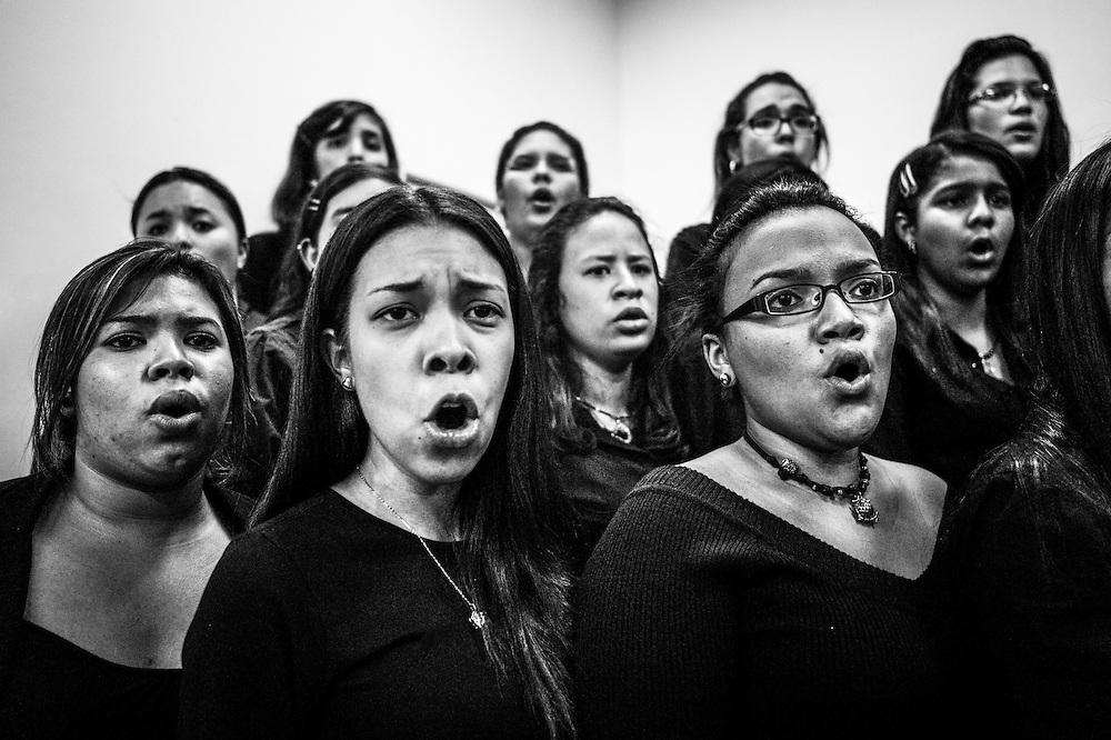 Music students rehearse at the El Sistema nucleo in Maracay, Venezuela.