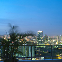 Foreign investors fuel Panama construction boom: Panama City is a hotbead for construction activity.Pictured: Bay Tower, Marbella's luxury apartment complex in Balbao Avenue, with palm trees and swimming pool roof top