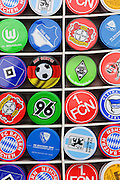 Sweet tins for sale with the colours of the German football teams on them, in Munich