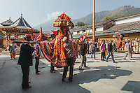 A Deity in Raghunath Temple complex on Kullu Dusshera. Kullu Dussehra is the Dussehra festival observed in the month of October in Himachal Pradesh state in northern India. It is celebrated in the Dhalpur maidan in the Kullu valley. Dussehra at Kullu commences on the tenth day of the rising moon, i.e. on 'Vijay Dashmi' day itself and continues for seven days. Its history dates back to the 17th century when local King Jagat Singh installed an idol of Raghunath on his throne as a mark of penance. After this, god Raghunath was declared as the ruling deity of the Valley.