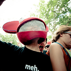A die-hard Deadmau5 fan up front at Calvin Harris' set in the Dance Forest.