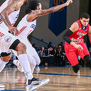 Grand Rapids Drive Guard RAY MCCALLUM (2) drives towards the lane as Delaware 87ers Guard CAT BARBER (1) defends in the second half of a NBA D-league regular season basketball game between the Delaware 87ers and the Grand Rapids Drive (Detroit Pistons) Tuesday. Nov. 29, 2016 at The Bob Carpenter Sports Convocation Center in Newark, DEL.