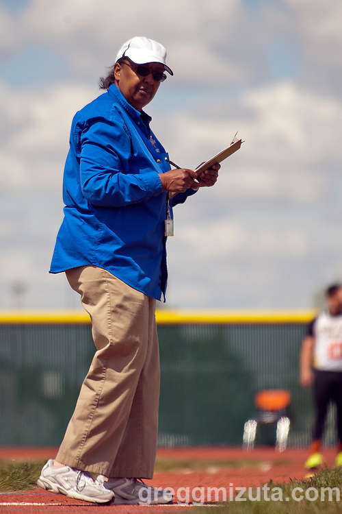 Meet official Florence Erickson oversees the boys triple jump event during the YMCA Track & Field Invitational at Mountain View High School, Meridian, Idaho. April 25, 2015.