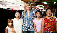 31-3-2015 YANGON MYANMAR -  Queen Maxima visits a local market where sellers got a loan microfinance  to support their business Queen Maxima visits in its capacity as special advocate of the Secretary-General of the United Nations for inclusive finance for development (inclusive finance for development) Myanmar on Monday, March 30 to Wednesday, April 1st, 2015. COPYRIGHT ROBIN UTRECHT