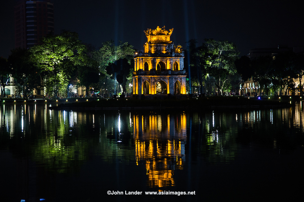 "Turtle Pagoda, sitting in the middle of Hoan Kiem Lake or ""Lake of the Returned Sword"" is in the historical center of Hanoi, the capital of Vietnam. The lake is one of the most scenic spots in the city and serves as a focal point for its public life."