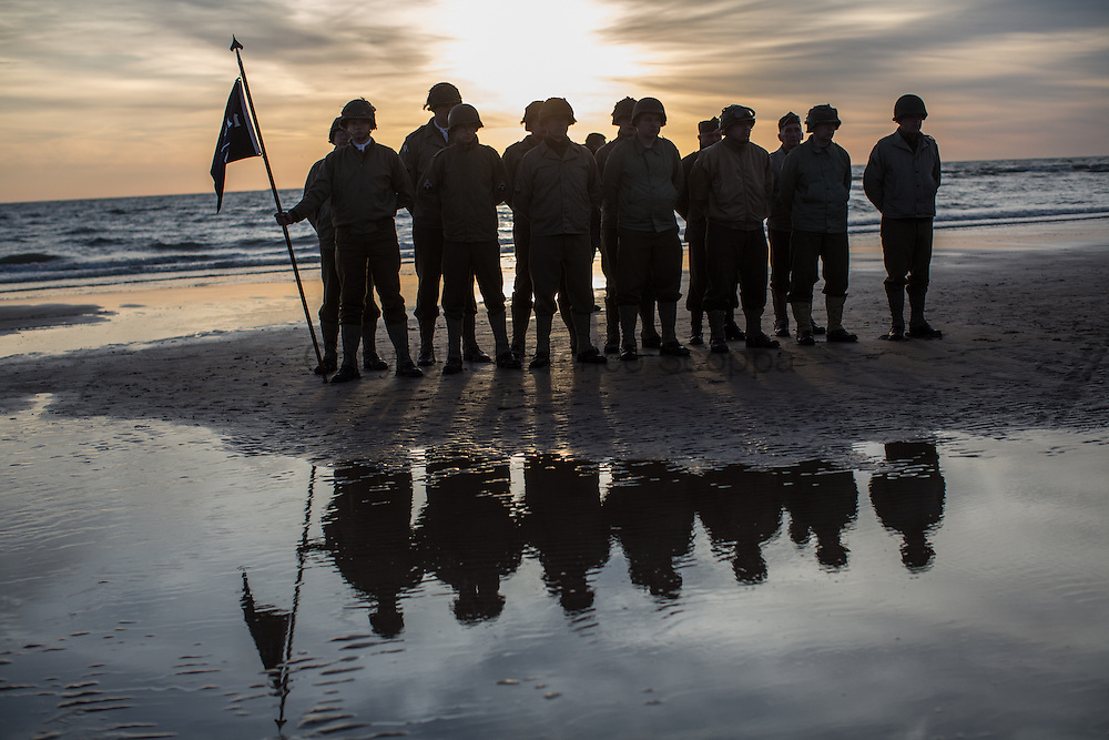 Reenactors honor guard on Omaha Beach