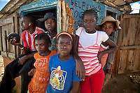 Kids hang out at a market near Caye Michel in the Massif de la Hotte, Haiti