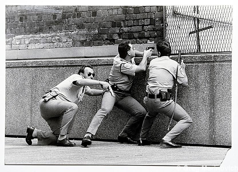 Copy of a vintage print by Joao Silva. Johannesburg, speed cops.