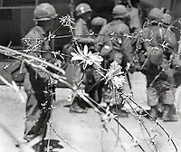 For 2 weeks the streets were baracaded with rolls of barbed wire when US National guard took over the town during People's Park Student protest & riots in Berkeley California 1969