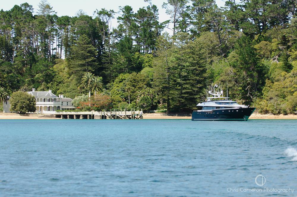 "Motor Yacht ""Ad Lib"" at anchor in Mission House Bay, Kauwau Island. North Island, New Zealand. 9/11/2005"
