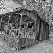 Leaning Wooden Storefront Shack - Golden, Oregon - HDR - Infrared Black & White