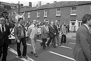 H-Block Protest To British Embassy.  (N86)..1981..18.07.1981..07.18.1981..18th July 1981..A protest march to demonstrate against the H-Blocks in Northern Ireland was held today in Dublin. After the death of several hunger strikers in the H-Blocks feelings were running very high. The protest march was to proceed to the British Embassy in Ballsbridge...Image shows the march progressing down Merrion Road towards the British Embassy.