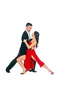 Couple dances tango On white Background