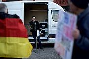 Frankfurt am Main | 30 Mar 2015<br /> <br /> Am Montag (30.03.2015) demonstrierten etwa 40 Menschen unter dem Namen &quot;Freie B&uuml;rger f&uuml;r Deutschland&quot; auf dem R&ouml;merberg in Frankfurt am Main gegen Islamisierung und zahlreiche andere &Uuml;bel, die Gruppe war zuvor unter dem Namen &quot;PEGIDA&quot; aufgetreten. Etwa 600 Menschen protestierten lautstark gegen diese Kundgebung.<br /> Hier: &quot;Freie B&uuml;rger f&uuml;r Deutschland&quot;-Redner.<br /> <br /> &copy;peter-juelich.com<br /> <br /> [No Model Release | No Property Release]