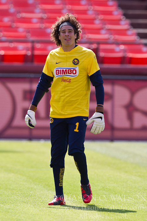 August 3, 2010; San Francisco, CA, USA;  Club America goalkeeper Guillermo Ochoa (1) practices at Candlestick Park a day before their match with Real Madrid.