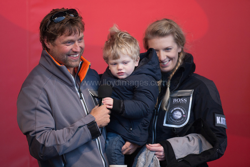 """British yachtsman Alex Thomson finishes 3rd in the solo non stop around the world yacht race """"The Vendee Globe"""". Pictured here with his wife kate and 2year old son Oscar.Les  Sables d Olonne. France...Pictures free for editorial use only please credit: Lloyd Images."""