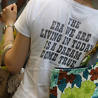 'The era we are living in today is a dream come true' on a t-shirt, in Tokyo, Japan.