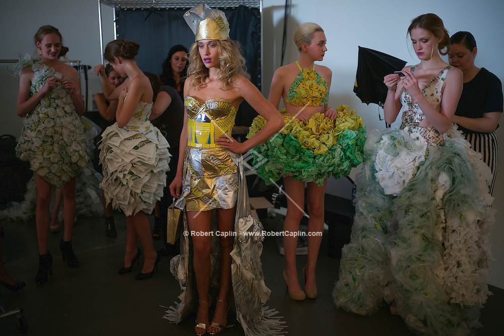 Sept. 11, 2013 - New York, NY - Models backstage wearing outfits made out of  Subway sandwich accessories for Project Subway fashion show at Chelsea Piers.<br /> (Photo by Robert Caplin)
