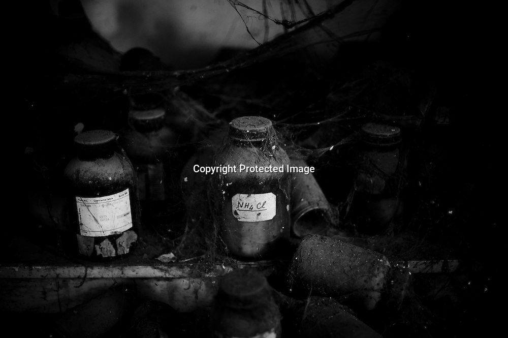 Bhopal, twenty-five years later..Discarded jars of chemical sits in the Union Carbide factory in the city of Bhopal in the state Madhya Pradesh, Indai October 8, 2009. ..Twenty-five years after a gas leak in the Union Carbide factory in Bhopal killed at least eight thousand people, toxic material from the 'biggest industrial disaster in history' continues to affect Bhopalis. A new generation is growing up sick, disabled and struggling for justice...The effects of the disaster on the health of generations to come, both through genetics transferred from gas victims to their children and through the ongoing severe contamination, caused by the Union Carbide factory, has only started to develop visible forms recently...