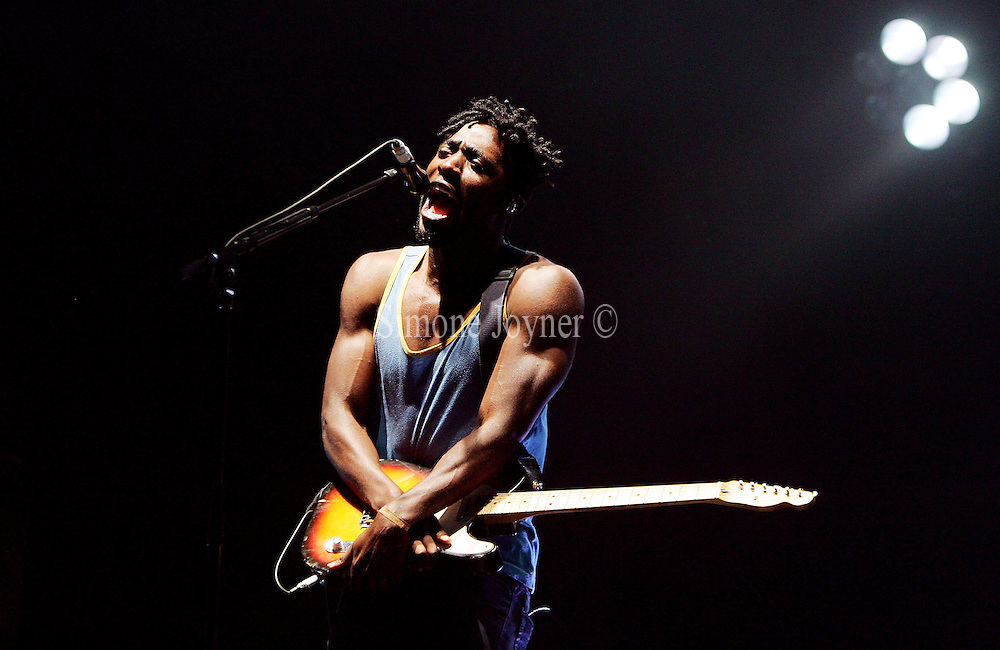 Kele Okereke of Bloc Party performs live on the main stage during the third and final day of Reading Festival on August 30, 2009 in Reading, England.  (Photo by Simone Joyner)