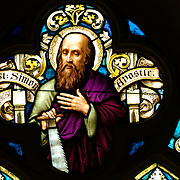St. Simon the Apostle is depicted in this stained glass window at St. Francis Xavier Church in Superior.