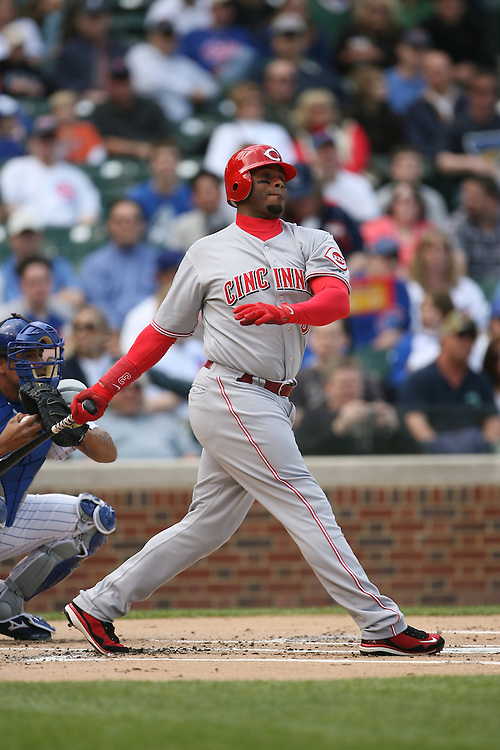 CHICAGO - APRIL 17:  Ken Griffey Jr. #3 of the Cincinnati Reds bats during the game against the Chicago Cubs at Wrigley Field in Chicago, Illinois on April 17, 2008.  The Reds defeated the Cubs 8-2.  (Photo by Ron Vesely)
