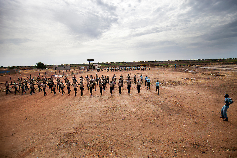 New police recruits train near Bentiu the capital of the oil rich Unity state.