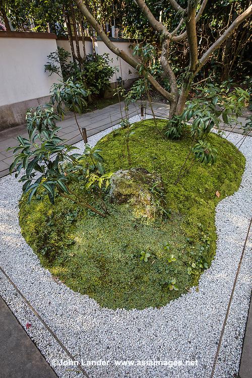 """Hokokuji Zen Garden -  Hokoku-ji  is famous for its bamboo garden Its nickname is Take-dera """"Bamboo Temple"""" for that reason.  Besides the popular bamboo garden, and teahouse, Hokokuji also has a often overlooked Zen garden   Ashikaga Ietoki, ordered Zen priest Tengan Eko to establish Hokoku-ji. This temple became the family temple of the Ashikaga clan. Tengan was a disciple of Mugaku Sogen a contemporary of famous garden designer Muso Kokushi."""