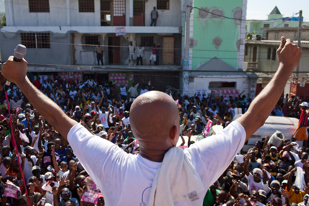 Haitian presidential candidate Michel Martelly campaigns on Thursday, November 25, 2010 in the Delmas neighborhood of Port-au-Prince, Haiti.