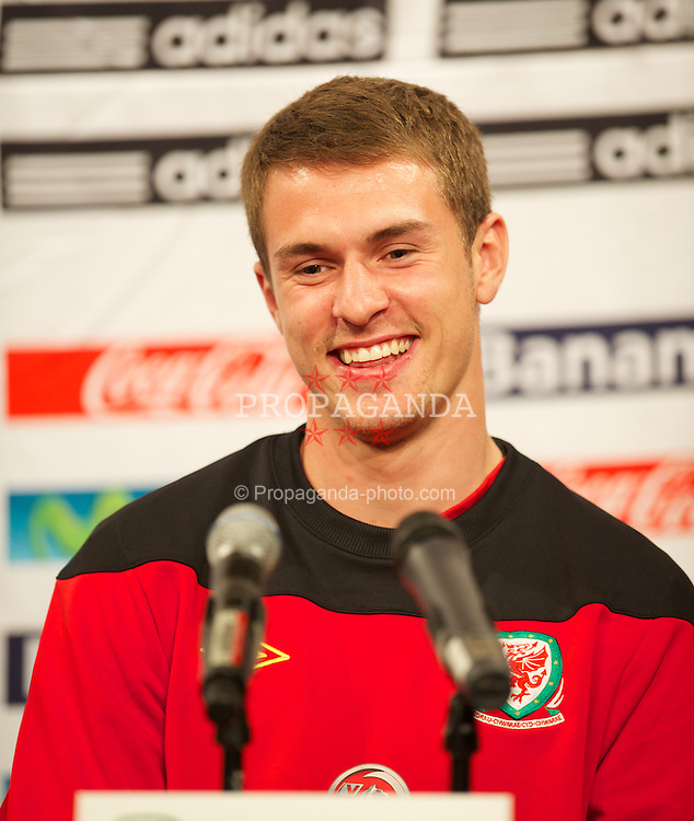 EAST RUTHERFORD, NEW JERSEY, USA - Saturday, May 26, 2012: Wales' captain Aaron Ramsey during a press conference at the MetLife Stadium ahead of the friendly match against Mexico. (Pic by David Rawcliffe/Propaganda)