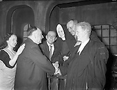 """1961 - Richard Johnson, author of the play """"The Evidence I Shall Give"""" meets the Abbey cast."""