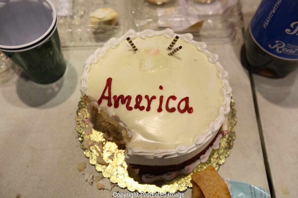 """Trumpeteers"" with a celebration cake at Donald Trump's star on the Hollywood Walk of Fame on the same day of the protest to the election of Republican Donald Trump as President of the United States in Los Angeles, California, U.S. November12, 2016.  REUTERS/Ted Soqui"