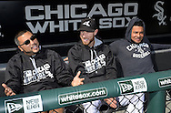 CHICAGO - April 22:  Dioner Navarro #27 (L), Brett Lawrie #15 and Melky Cabrera #53 (R) of the Chicago White Sox have fun while conducting a joint interview prior to the game against the Texas Rangers on April 22, 2016 at U.S. Cellular Field in Chicago, Illinois.  (Photo by Ron Vesely)    Subject:  Dioner Navarro; Brett Lawrie; Melky Cabrera
