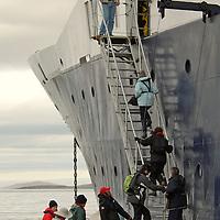 Cruise North Ship, the Lyubov Orlova, a Russian boat registered in Malta, Southern Baffin Island. Canadian Arctic. Arctic Ocean.
