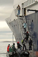 Cruise North Ship, the Lyubov Orlova, a Russian boat registered in Malta, Southern Baffin Island. Canadian Arctic. Arctic Ocean.