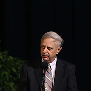 Mr. Frederick Polaski from the Board of Education give remarks during Christiana 52nd commencement exercises Monday, June 01, 2015, at The Bob Carpenter Sports Convocation Center in Newark, Delaware.
