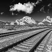 Mormon Rocks - Light Snow Covered Railway - HDR - Infrared Black & White