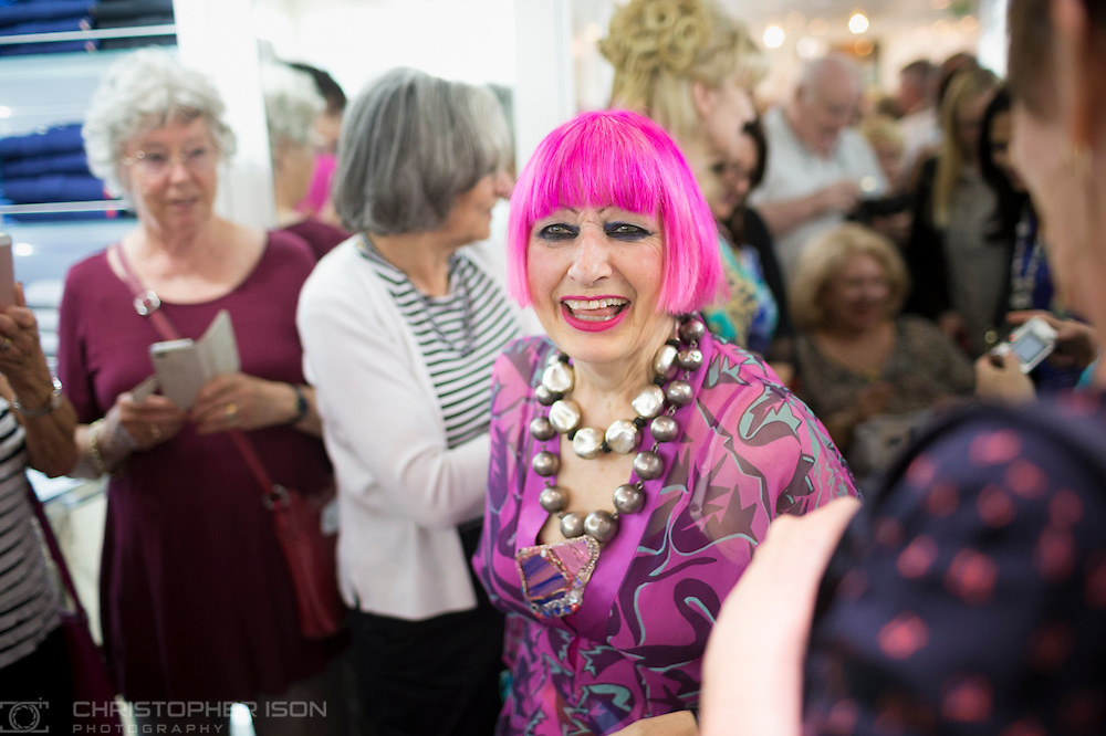 British fashion designer Dame Zandra Rhodes unveils her collection aboard Queen Mary 2 during Cunard's first Transatlantic Fashion Week. The voyage set sail from Southampton and will arrive in to New York City for the start of New York Fashion Week on the 8th September. <br /> Picture date: Friday September 2, 2016.<br /> Photograph by Christopher Ison &copy;<br /> 07544044177<br /> chris@christopherison.com<br /> www.christopherison.com